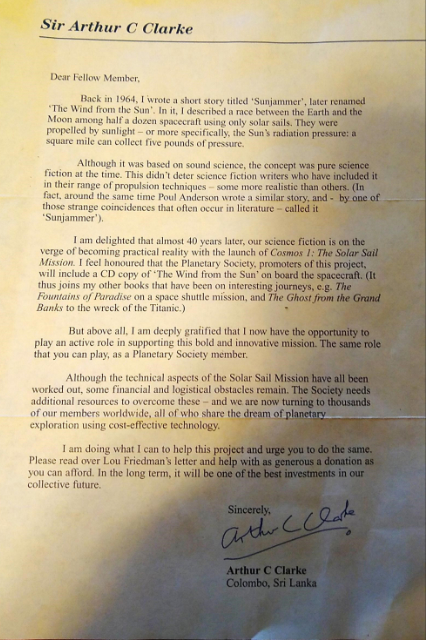 Letter from Arthur C Clarke on the Solar Sail