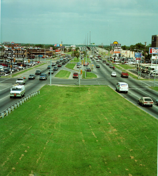 Old picture of Kellogg through downtown Wichita
