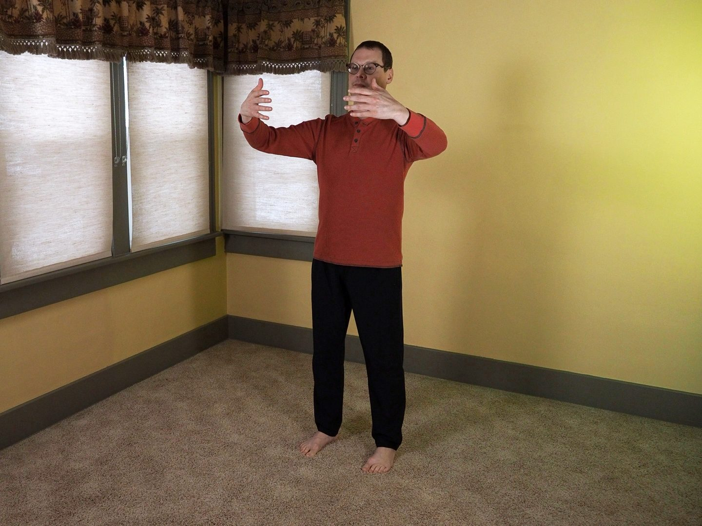 Holding the Moon Posture with Wuji Posture alignments.