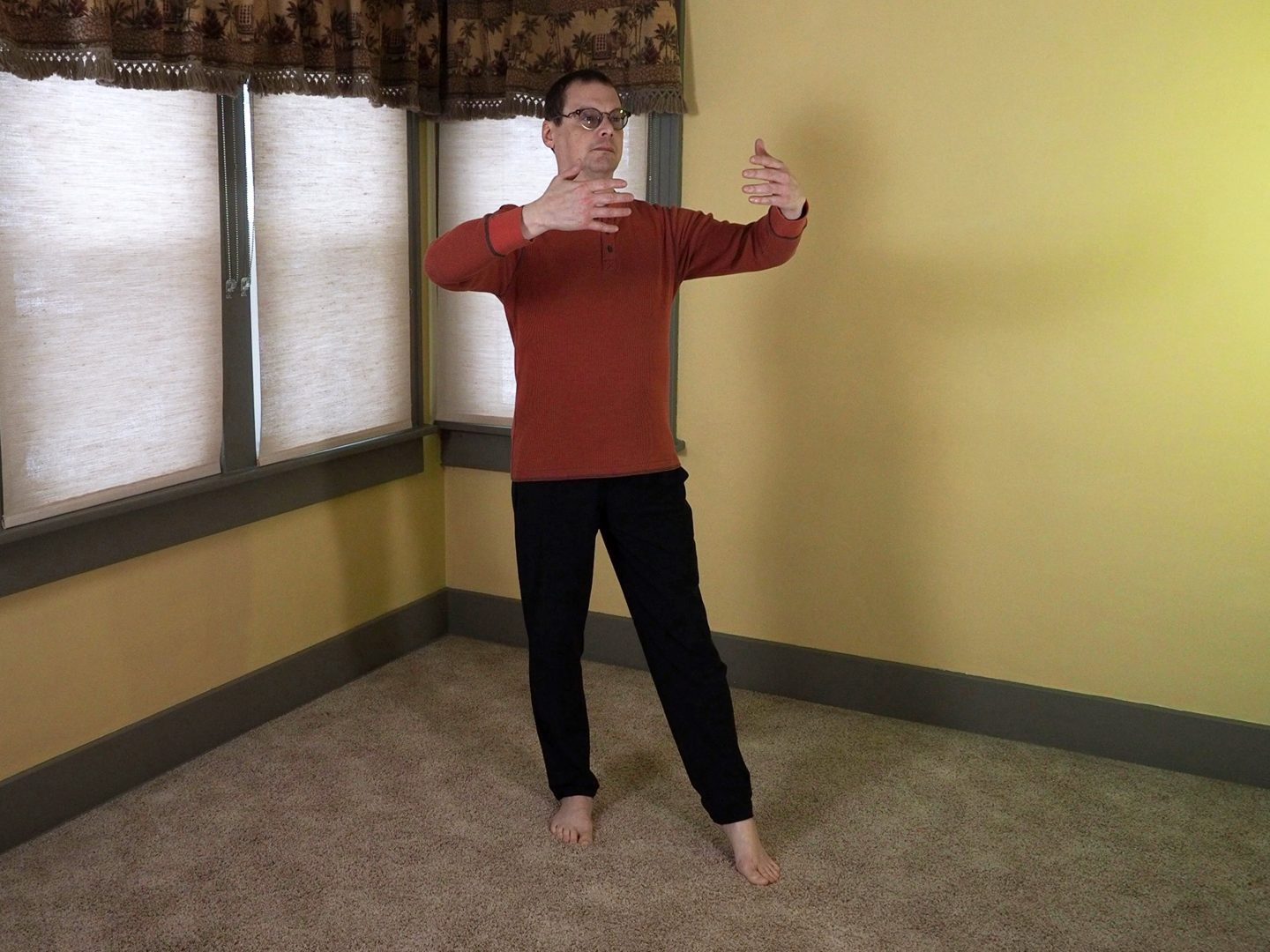The Yin Yang posture also known as The Universal Post Posture.