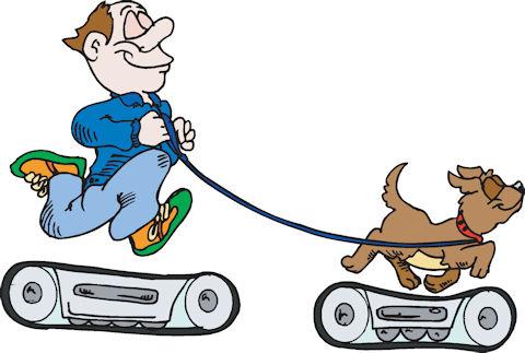 A lazy man walking his dog on treadmills.