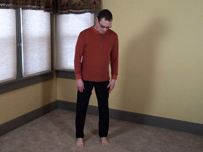 Checking Wuji Posture foot placement.